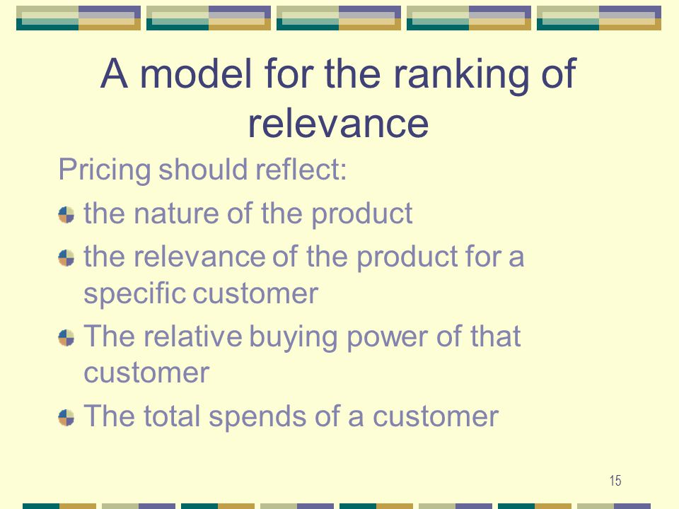 15 A model for the ranking of relevance Pricing should reflect: the nature of the product the relevance of the product for a specific customer The relative buying power of that customer The total spends of a customer