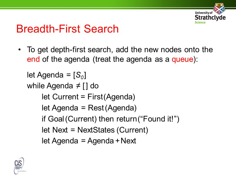 Breadth-First Search To get depth-first search, add the new nodes onto the end of the agenda (treat the agenda as a queue): let Agenda = [S 0 ] while Agenda ≠ [ ] do let Current = First (Agenda) let Agenda = Rest (Agenda) if Goal (Current) then return ( Found it! ) let Next = NextStates (Current) let Agenda = Agenda + Next