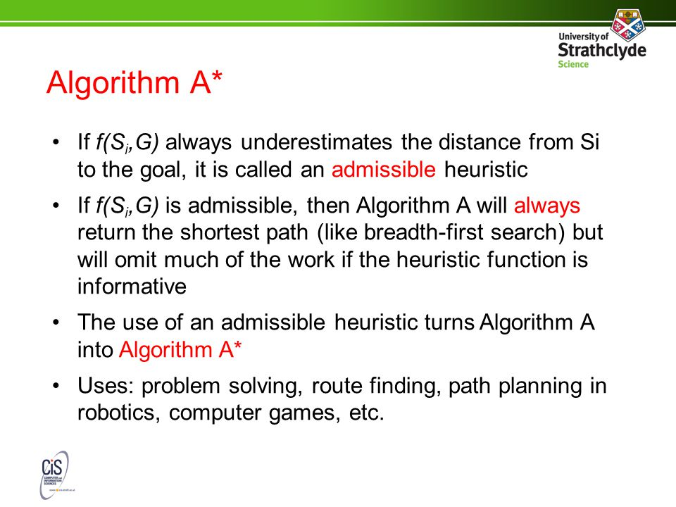 Algorithm A* If f(S i,G) always underestimates the distance from Si to the goal, it is called an admissible heuristic If f(S i,G) is admissible, then Algorithm A will always return the shortest path (like breadth-first search) but will omit much of the work if the heuristic function is informative The use of an admissible heuristic turns Algorithm A into Algorithm A* Uses: problem solving, route finding, path planning in robotics, computer games, etc.