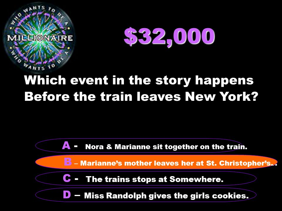 $32,000 Which event in the story happens Before the train leaves New York.