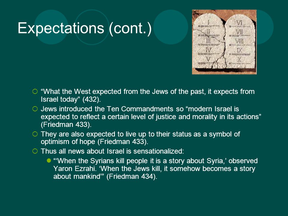 Expectations (cont.)  What the West expected from the Jews of the past, it expects from Israel today (432).