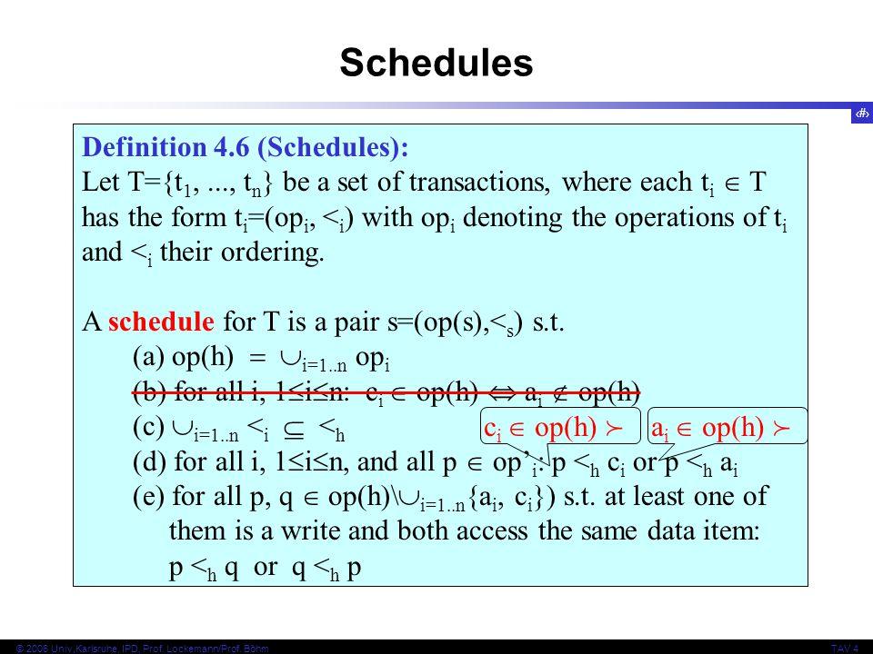 15 © 2006 Univ,Karlsruhe, IPD, Prof. Lockemann/Prof. BöhmTAV 4 Definition 4.3 (Histories): Let T={t 1,..., t n } be a set of transactions, where each
