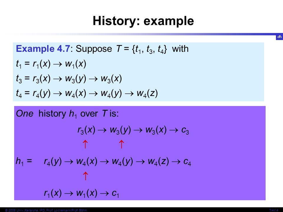 17 © 2006 Univ,Karlsruhe, IPD, Prof. Lockemann/Prof. BöhmTAV 4 History: example Example 4.7: Suppose T = {t 1, t 3, t 4 } with t 1 = r 1 (x)  w 1 (x)