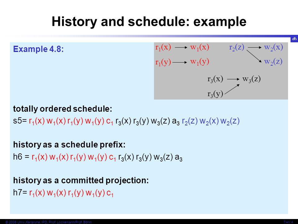 20 © 2006 Univ,Karlsruhe, IPD, Prof. Lockemann/Prof. BöhmTAV 4 Example 4.8: totally ordered schedule: s5= r 1 (x) w 1 (x) r 1 (y) w 1 (y) c 1 r 3 (x)