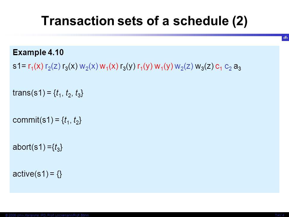 22 © 2006 Univ,Karlsruhe, IPD, Prof. Lockemann/Prof. BöhmTAV 4 Transaction sets of a schedule (2) Example 4.10 s1= r 1 (x) r 2 (z) r 3 (x) w 2 (x) w 1