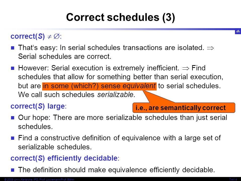 27 © 2006 Univ,Karlsruhe, IPD, Prof. Lockemann/Prof. BöhmTAV 4 i.e., are semantically correct Correct schedules (3) correct(S)   : That's easy: In s