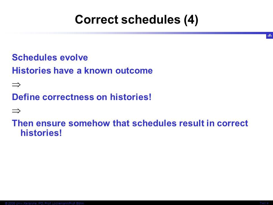 28 © 2006 Univ,Karlsruhe, IPD, Prof. Lockemann/Prof. BöhmTAV 4 Correct schedules (4) Schedules evolve Histories have a known outcome  Define correctn