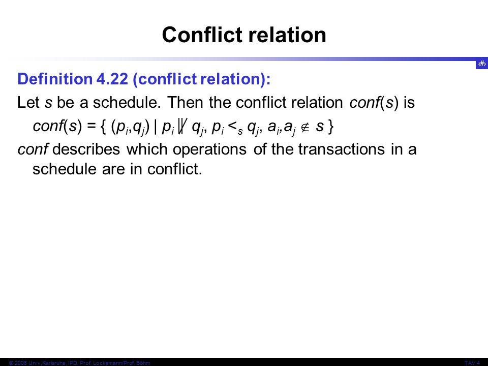 46 © 2006 Univ,Karlsruhe, IPD, Prof. Lockemann/Prof. BöhmTAV 4 Conflict relation Definition 4.22 (conflict relation): Let s be a schedule. Then the co