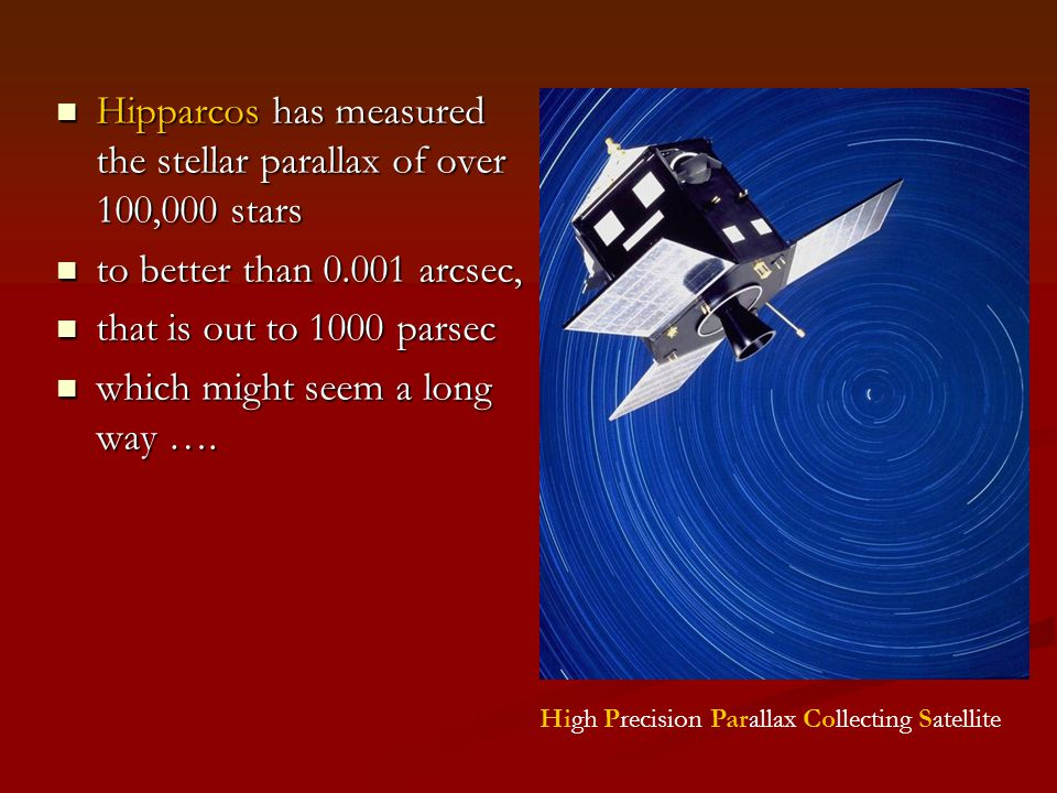 Hipparcos has measured the stellar parallax of over 100,000 stars Hipparcos has measured the stellar parallax of over 100,000 stars to better than 0.001 arcsec, to better than 0.001 arcsec, that is out to 1000 parsec that is out to 1000 parsec which might seem a long way ….