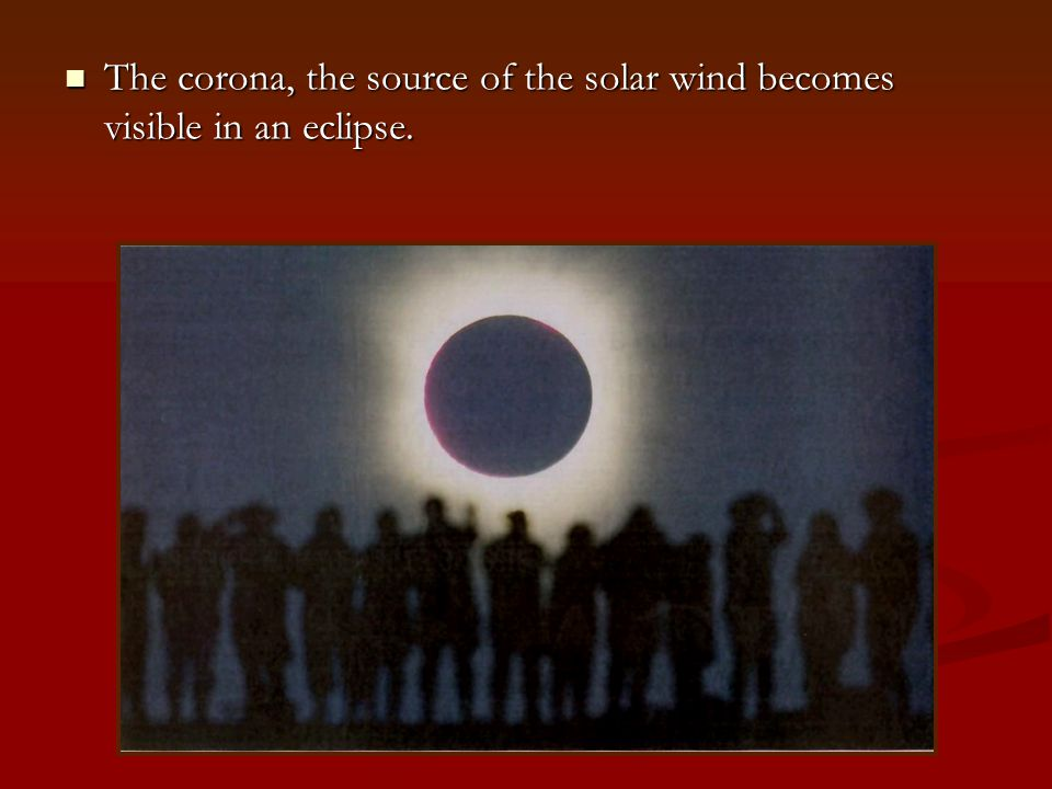 The corona, the source of the solar wind becomes visible in an eclipse.