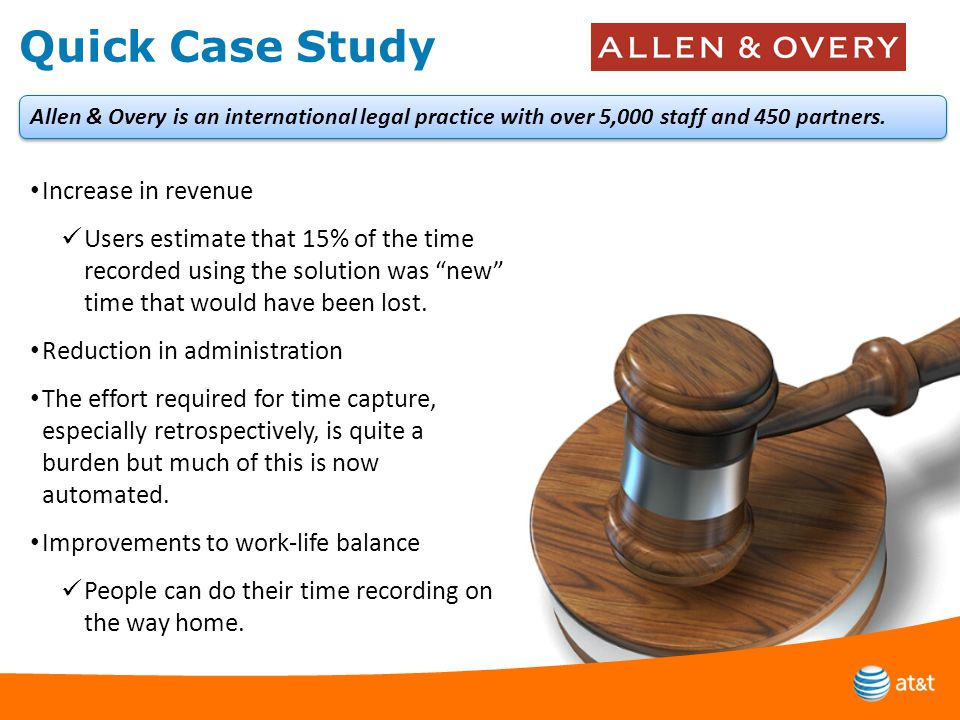 Quick Case Study Increase in revenue Users estimate that 15% of the time recorded using the solution was new time that would have been lost.