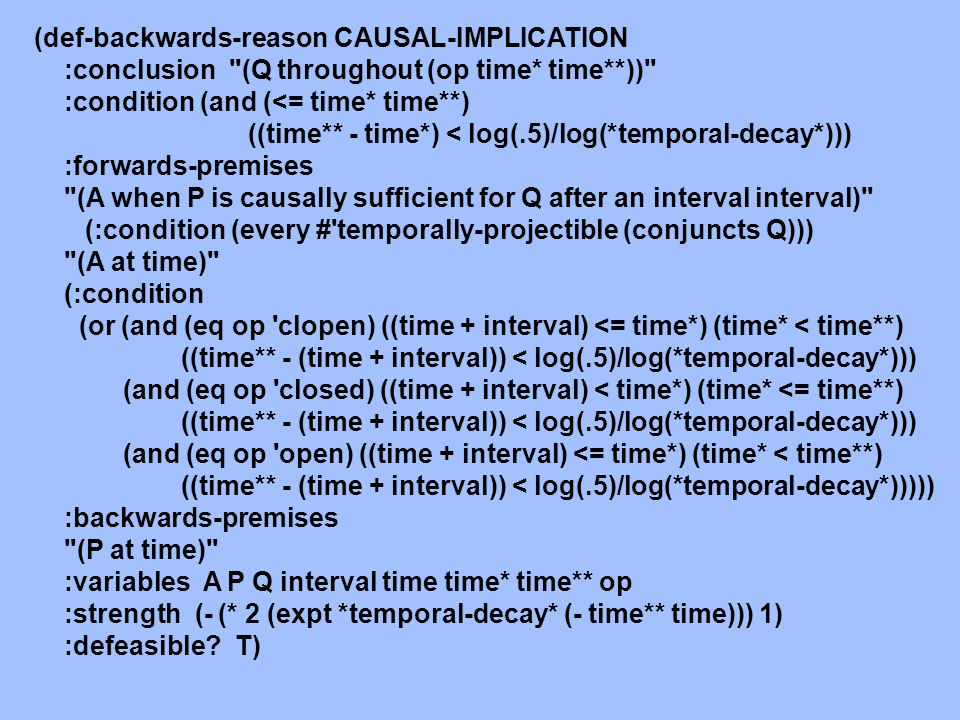 CAUSAL-IMPLICATION If Q is temporally-projectible, (t**–(t+  ) < log(  )/log(  ), and ((t+  < t* < t**), then (A when P is causally sufficient for Q after an interval  ) & A-at-t & P-at-t is a defeasible reason for Q-throughout-(t*, t**] and for Q-throughout-(t*, t**) .