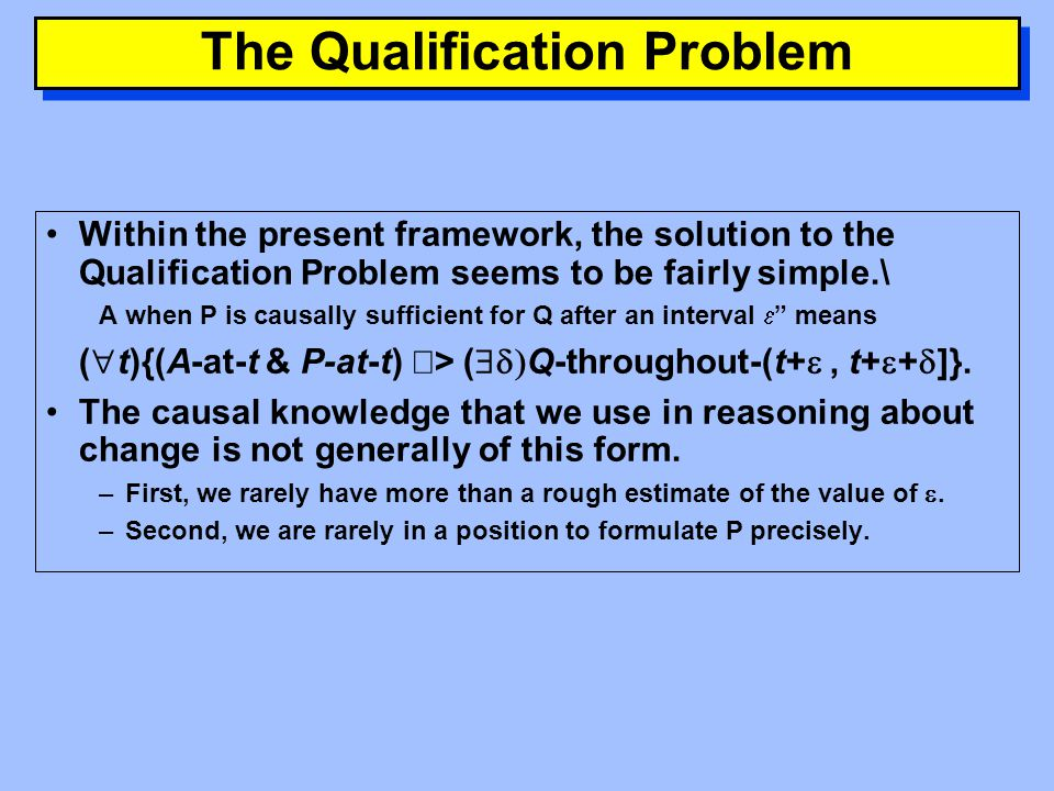 The Qualification Problem The Frame Problem concerned the proliferation of frame axioms—axioms concerning what does not change.