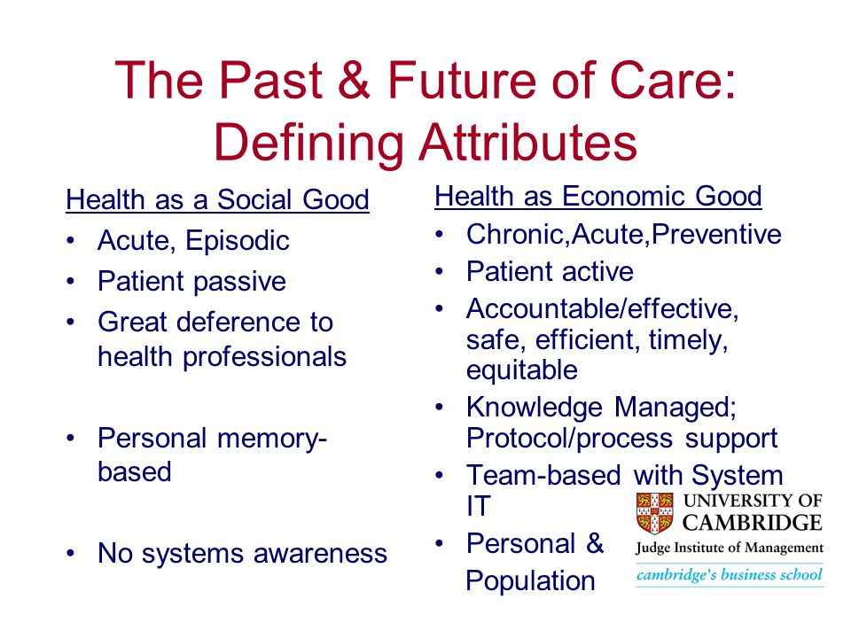 The Past & Future of Care: Defining Attributes Health as a Social Good Acute, Episodic Patient passive Great deference to health professionals Personal memory- based No systems awareness Health as Economic Good Chronic,Acute,Preventive Patient active Accountable/effective, safe, efficient, timely, equitable Knowledge Managed; Protocol/process support Team-based with System IT Personal & Population