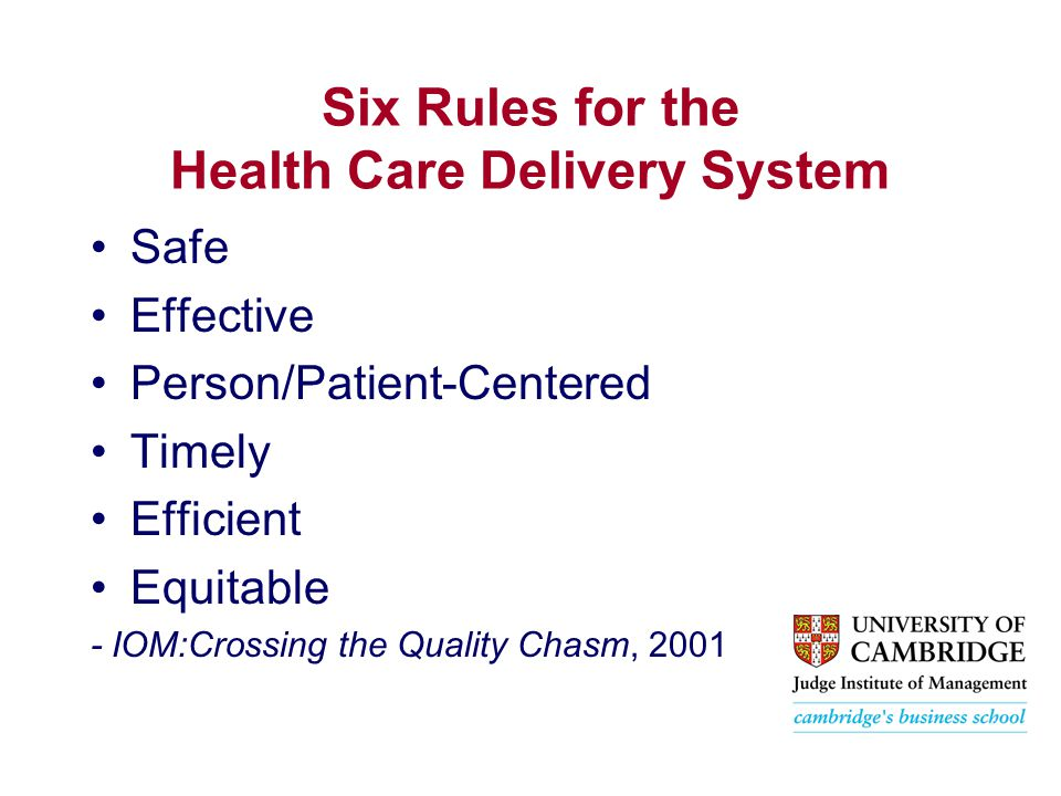 Six Rules for the Health Care Delivery System Safe Effective Person/Patient-Centered Timely Efficient Equitable - IOM:Crossing the Quality Chasm, 2001