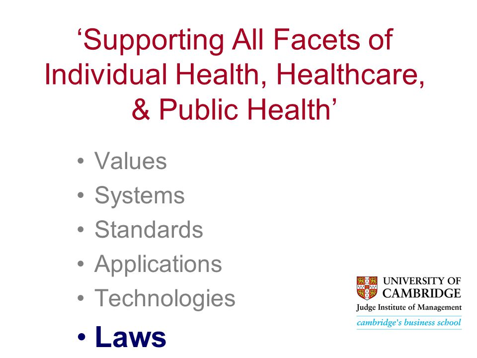 'Supporting All Facets of Individual Health, Healthcare, & Public Health' Values Systems Standards Applications Technologies Laws
