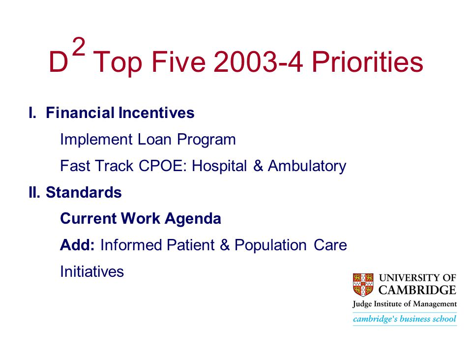 D Top Five 2003-4 Priorities I.