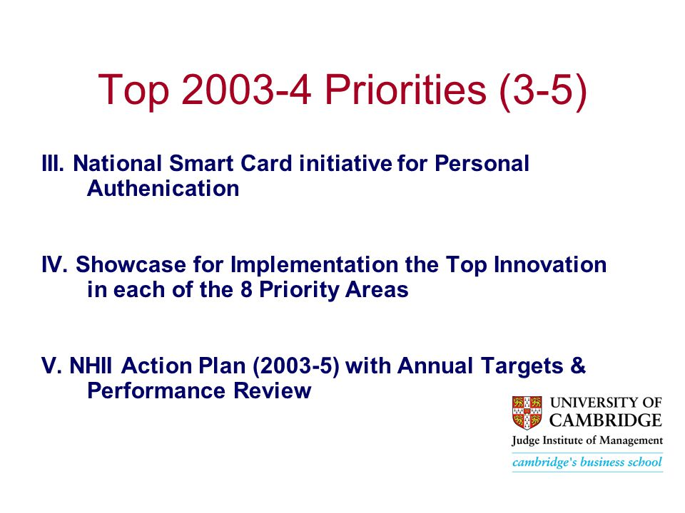 Top 2003-4 Priorities (3-5) III. National Smart Card initiative for Personal Authenication IV.