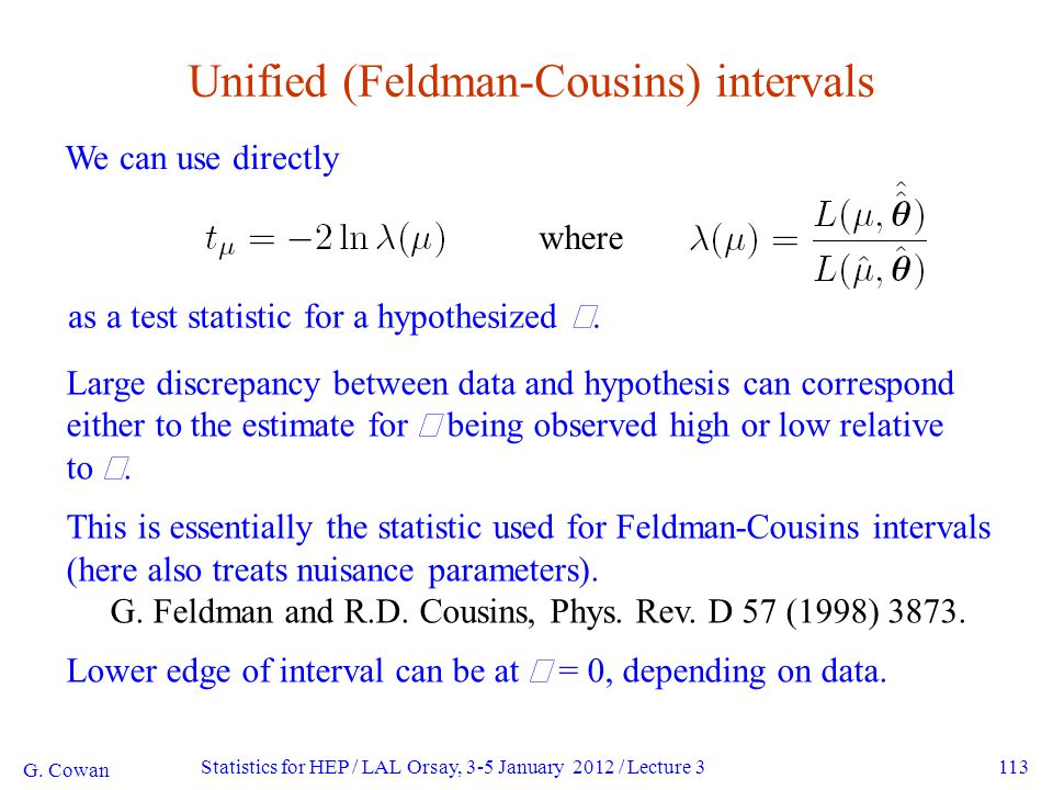 113 Unified (Feldman-Cousins) intervals We can use directly G.
