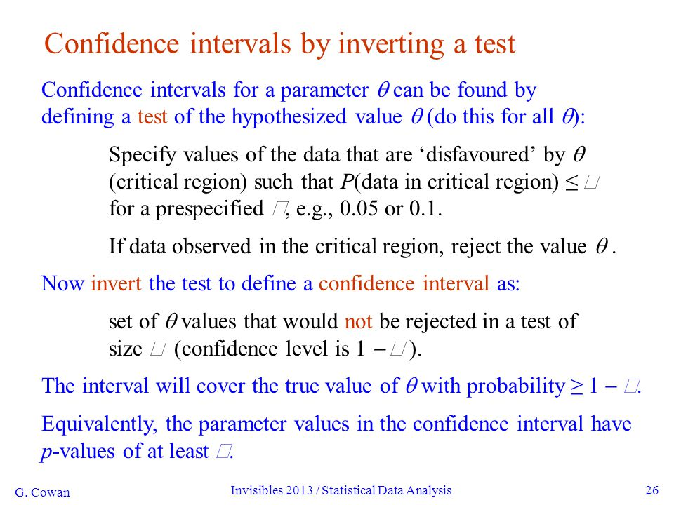 G. Cowan Invisibles 2013 / Statistical Data Analysis26 Confidence intervals by inverting a test Confidence intervals for a parameter  can be found by