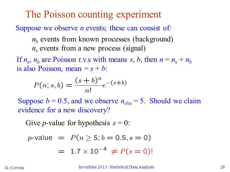 G. Cowan Invisibles 2013 / Statistical Data Analysis28 The Poisson counting experiment Suppose we observe n events; these can consist of: n b events f