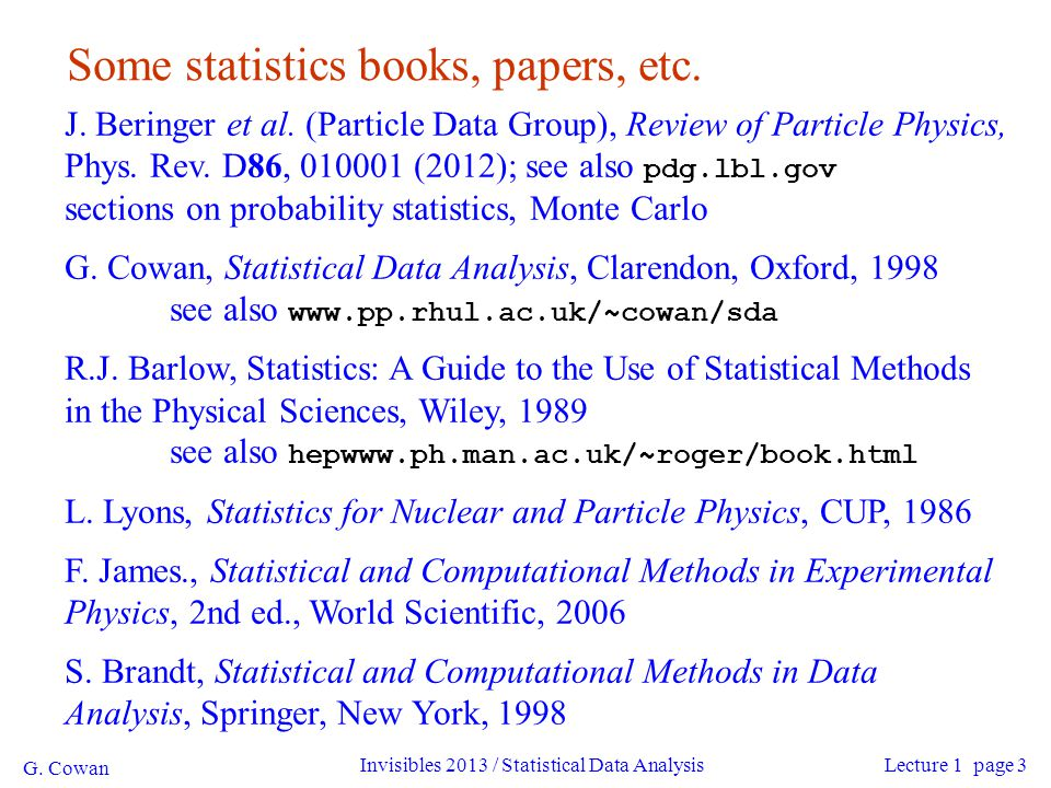 G. Cowan Invisibles 2013 / Statistical Data Analysis4 Quick review of probablility