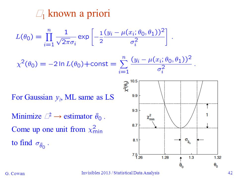 G. Cowan Invisibles 2013 / Statistical Data Analysis42  1 known a priori For Gaussian y i, ML same as LS Minimize  2 → estimator Come up one unit fr