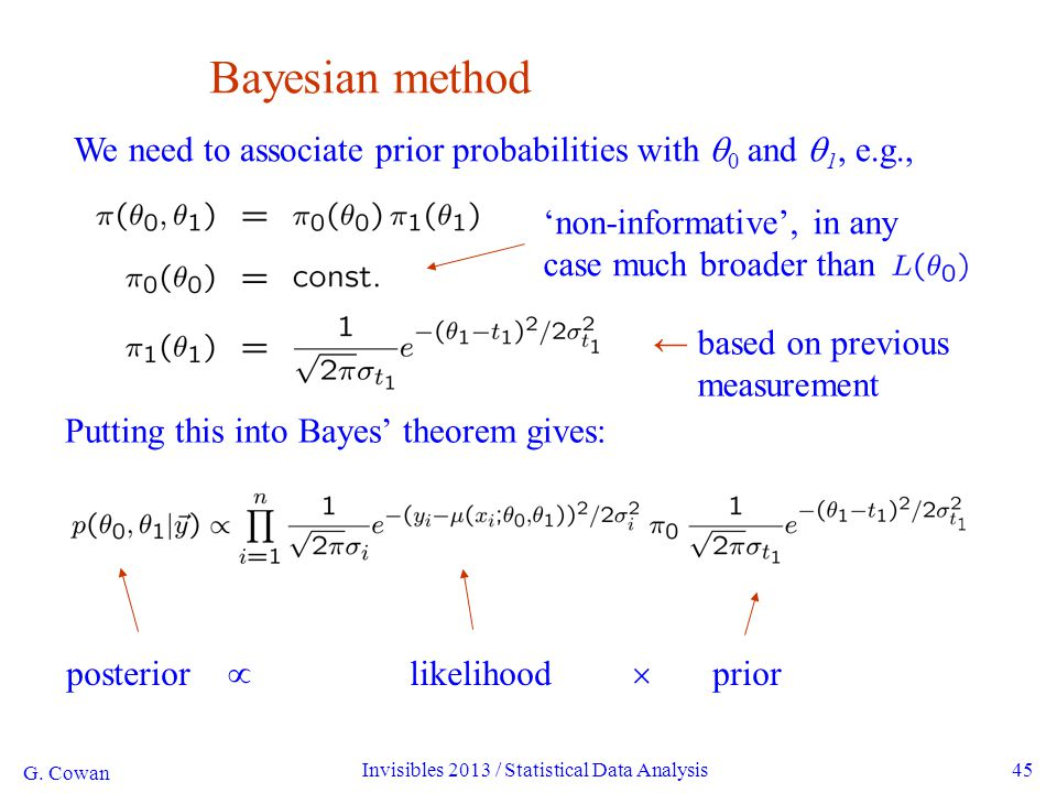 G. Cowan Invisibles 2013 / Statistical Data Analysis45 Bayesian method We need to associate prior probabilities with  0 and  1, e.g., Putting this i