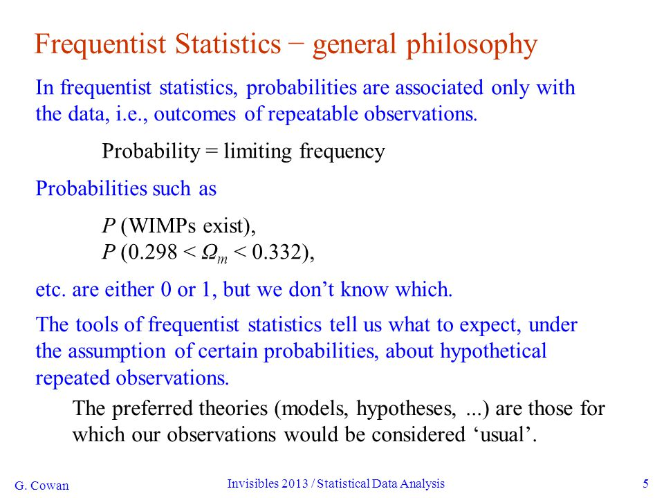 G. Cowan Invisibles 2013 / Statistical Data Analysis5 Frequentist Statistics − general philosophy In frequentist statistics, probabilities are associa