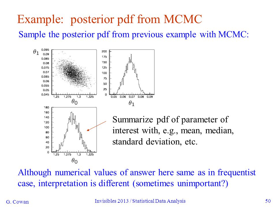 G. Cowan Invisibles 2013 / Statistical Data Analysis50 Although numerical values of answer here same as in frequentist case, interpretation is differe