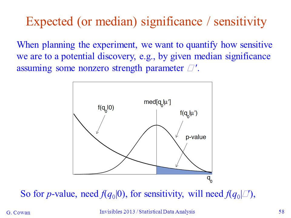 58 Expected (or median) significance / sensitivity When planning the experiment, we want to quantify how sensitive we are to a potential discovery, e.