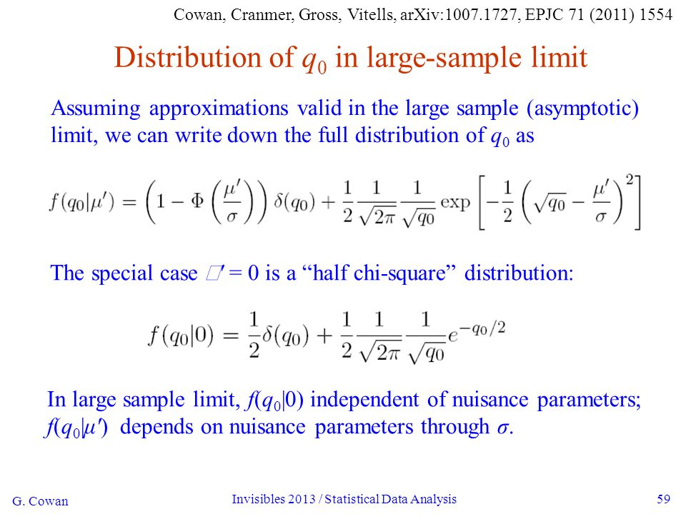 G. Cowan Invisibles 2013 / Statistical Data Analysis59 Distribution of q 0 in large-sample limit Assuming approximations valid in the large sample (as