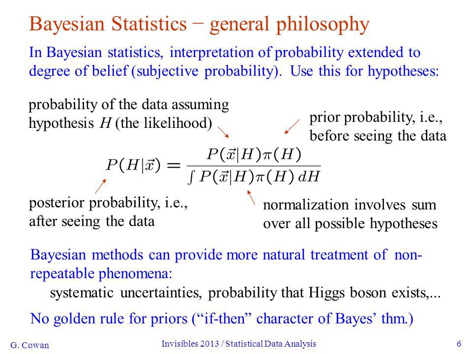 G. Cowan Invisibles 2013 / Statistical Data Analysis6 Bayesian Statistics − general philosophy In Bayesian statistics, interpretation of probability e