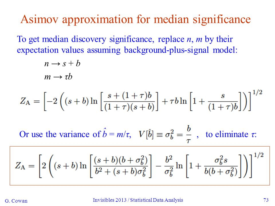 Or use the variance of b = m/τ, G.