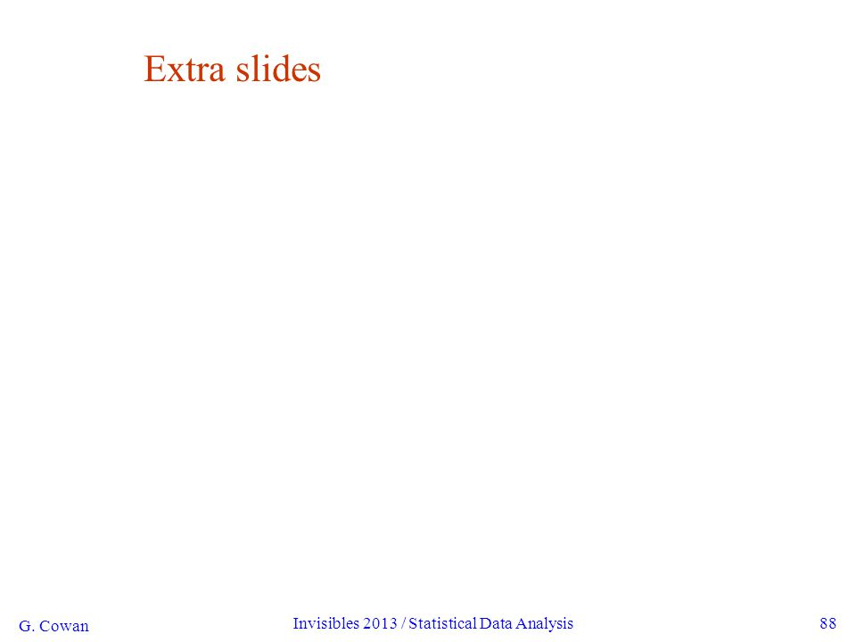 G. Cowan Invisibles 2013 / Statistical Data Analysis88 Extra slides
