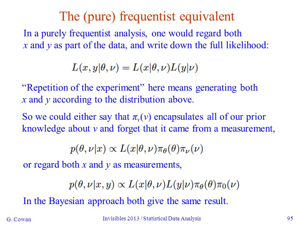 G. Cowan Invisibles 2013 / Statistical Data Analysis95 The (pure) frequentist equivalent In a purely frequentist analysis, one would regard both x and