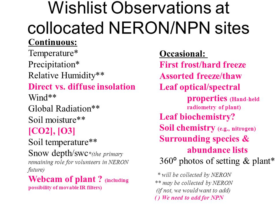 Wishlist Observations at collocated NERON/NPN sites Continuous: Temperature* Precipitation* Relative Humidity** Direct vs.