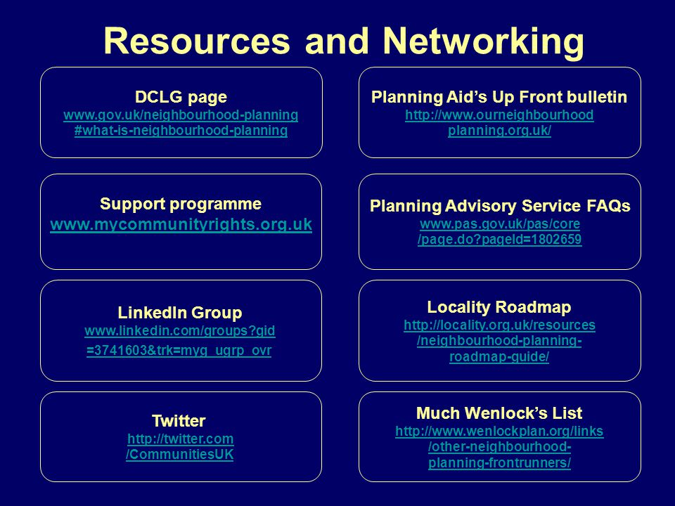 Resources and Networking DCLG page www.gov.uk/neighbourhood-planning #what-is-neighbourhood-planning Support programme www.mycommunityrights.org.uk LinkedIn Group www.linkedin.com/groups?gid =3741603&trk=myg_ugrp_ovr Twitter http://twitter.com /CommunitiesUK Much Wenlock's List http://www.wenlockplan.org/links /other-neighbourhood- planning-frontrunners/ Planning Aid's Up Front bulletin http://www.ourneighbourhood planning.org.uk/ Planning Advisory Service FAQs www.pas.gov.uk/pas/core /page.do?pageId=1802659 Locality Roadmap http://locality.org.uk/resources /neighbourhood-planning- roadmap-guide/