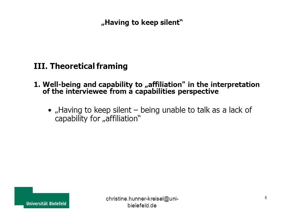 """christine.hunner-kreisel@uni- bielefeld.de 8 """"Having to keep silent III."""