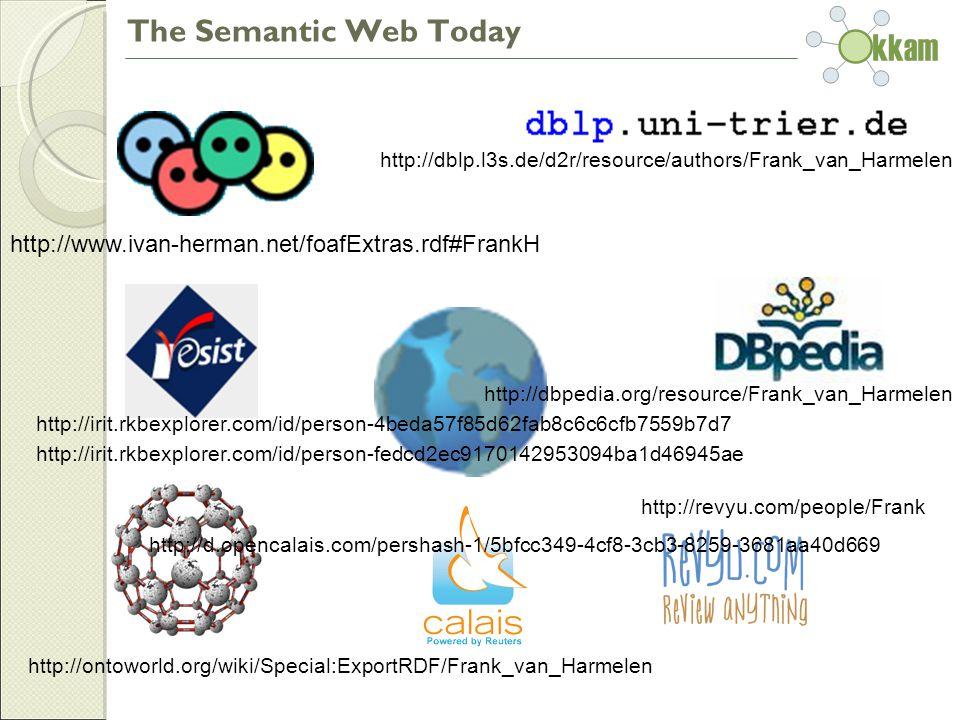 The Semantic Web Today http://dblp.l3s.de/d2r/resource/authors/Frank_van_Harmelen http://dbpedia.org/resource/Frank_van_Harmelen http://revyu.com/people/Frank http://ontoworld.org/wiki/Special:ExportRDF/Frank_van_Harmelen http://www.ivan-herman.net/foafExtras.rdf#FrankH http://irit.rkbexplorer.com/id/person-4beda57f85d62fab8c6c6cfb7559b7d7 http://irit.rkbexplorer.com/id/person-fedcd2ec9170142953094ba1d46945ae http://d.opencalais.com/pershash-1/5bfcc349-4cf8-3cb3-8259-3681aa40d669