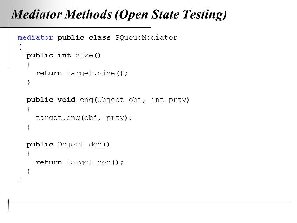 Mediator Methods (Open State Testing) mediator public class PQueueMediator { public int size() { return target.size(); } public void enq(Object obj, int prty) { target.enq(obj, prty); } public Object deq() { return target.deq(); }
