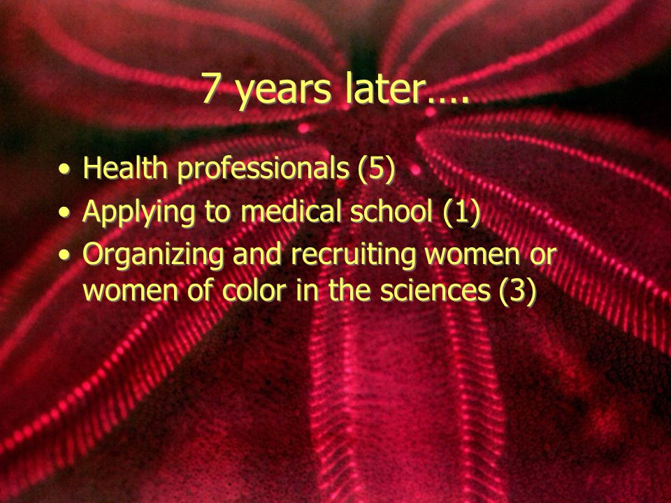 7 years later…. Health professionals (5) Applying to medical school (1) Organizing and recruiting women or women of color in the sciences (3) Health p