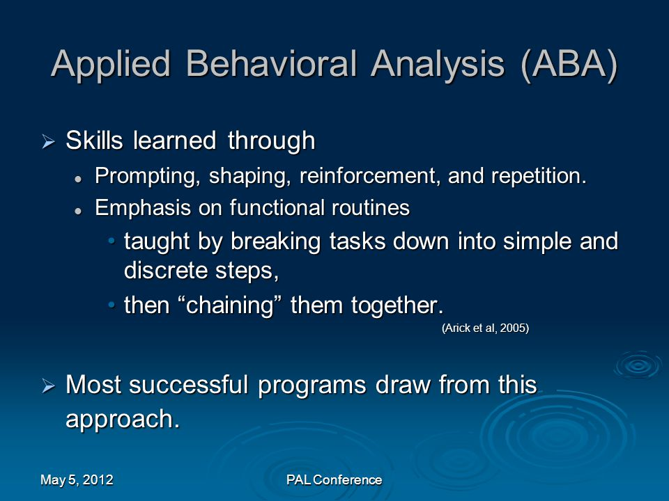 Applied Behavioral Analysis (ABA)  Skills learned through Prompting, shaping, reinforcement, and repetition. Prompting, shaping, reinforcement, and r