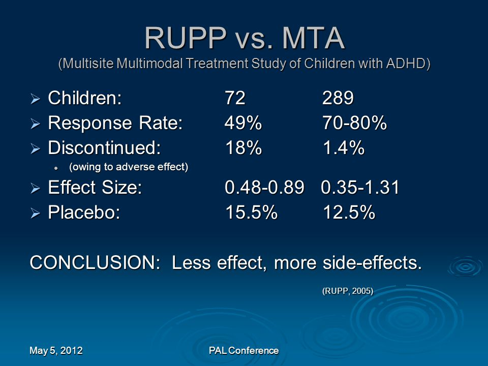 RUPP vs. MTA (Multisite Multimodal Treatment Study of Children with ADHD)  Children:72289  Response Rate:49%70-80%  Discontinued:18%1.4% (owing to