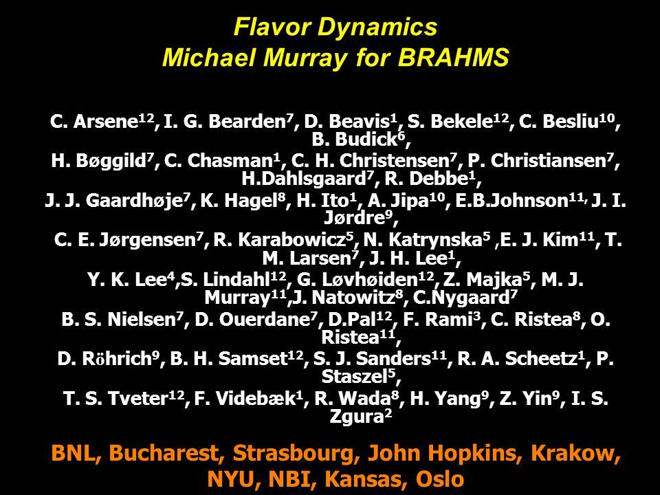 Michael Murray1 Global Detectors Flavor Dynamics Michael Murray for BRAHMS C. Arsene 12, I. G. Bearden 7, D. Beavis 1, S. Bekele 12, C. Besliu 10, B.