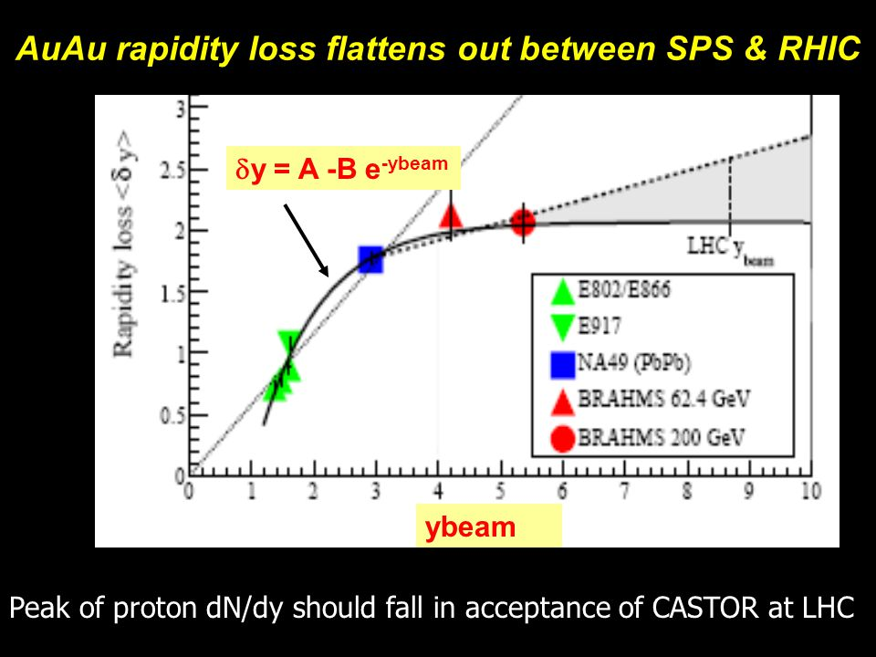 Michael Murray11  y = A -B e -ybeam AuAu rapidity loss flattens out between SPS & RHIC ybeam Peak of proton dN/dy should fall in acceptance of CASTOR at LHC