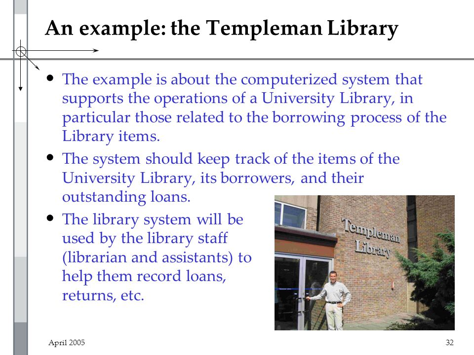April 200532 An example: the Templeman Library The example is about the computerized system that supports the operations of a University Library, in p