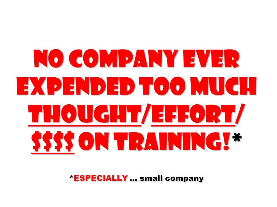 No company ever Expended too much thought/Effort/ $$$$ on training!* *ESPECIALLY … small company
