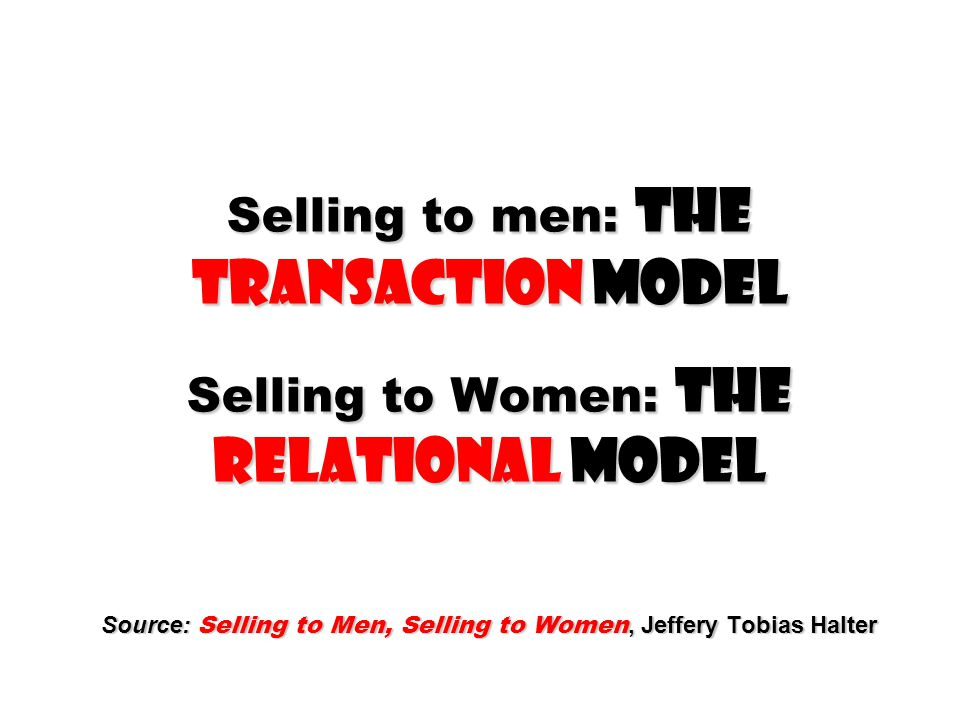 Selling to men: The TRANSACTION Model Selling to Women: The RELATIONAL Model Source: Selling to Men, Selling to Women, Jeffery Tobias Halter