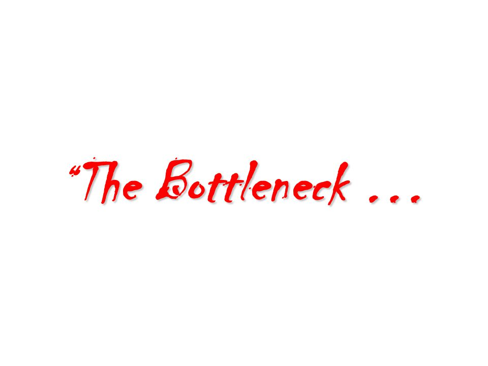 The Bottleneck … The Bottleneck …